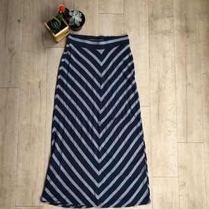 Navy Blue and a White Chevron Maxi Skirt
